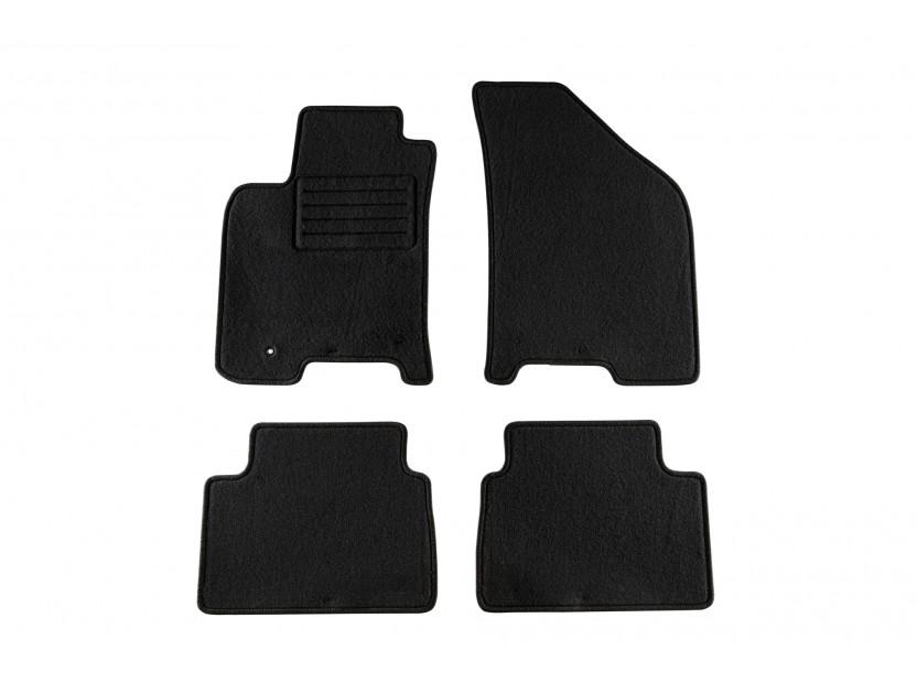 Мокетни стелки Petex за Chevrolet Lacetti, Nubira 2003-2010, 4 части, черни, материя Rex, захват B022