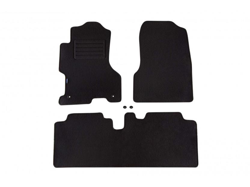 Мокетни стелки Petex съвместими с Honda Civic 2001-2003, 5 врати, 3 части, черни, материя Rex