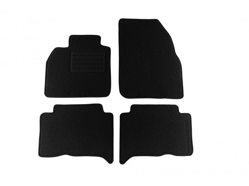Мокетни стелки Petex съвместими с Renault Scenic 2003-2009, 4 части, черни, материя Rex, захват KL04