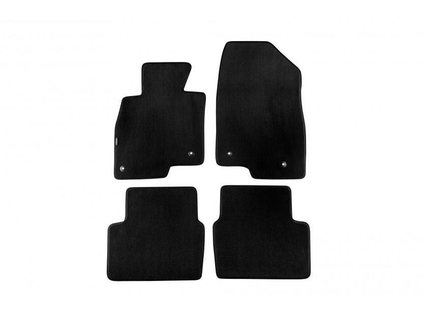 Мокетни стелки Petex за Mazda 6 комби след 2012 година, 4 части, черни, материя Style, захват B054