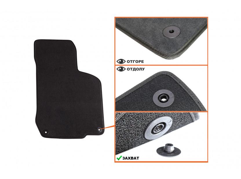 Мокетни стелки Petex съвместими със Seat Toledo, Leon 1999-2005, 4 части, черни, материя Style, захват B014U 3
