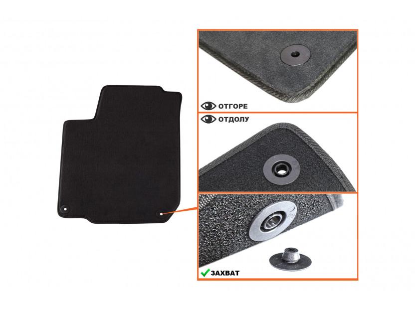 Мокетни стелки Petex съвместими със Seat Toledo, Leon 1999-2005, 4 части, черни, материя Style, захват B014U 2