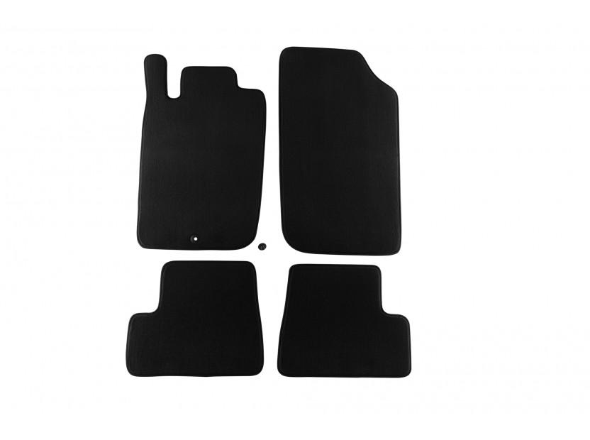 Мокетни стелки Petex съвместими с Peugeot 206 CC 2001-2007, 4 части, черни, материя Style, захват B001