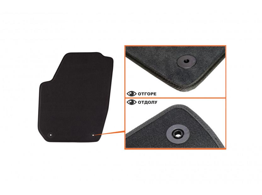 Мокетни стелки Petex съвместими с Skoda Fabia 2007-2014, 4 части, черни, материя Style, захват B01A4 2