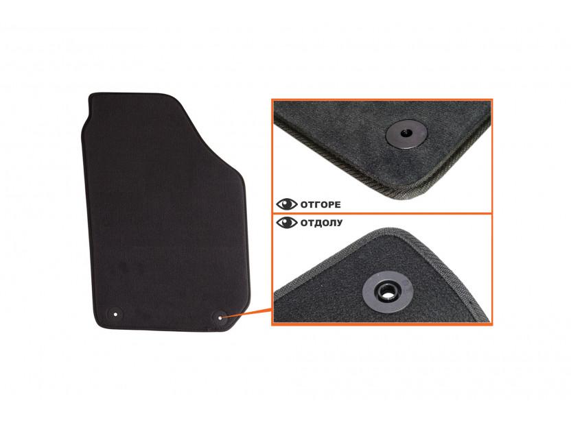 Мокетни стелки Petex съвместими с Skoda Fabia 2007-2014, 4 части, черни, материя Style, захват B01A4 3
