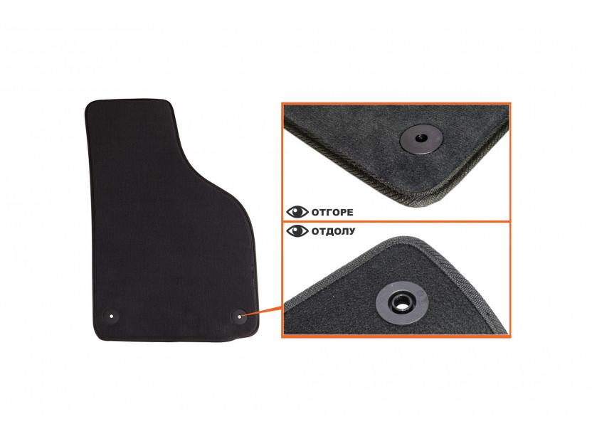 Мокетни стелки Petex съвместими с Skoda Octavia седан, комби 2008-2013, 4 части, черни, материя Style, захват B01A4 3