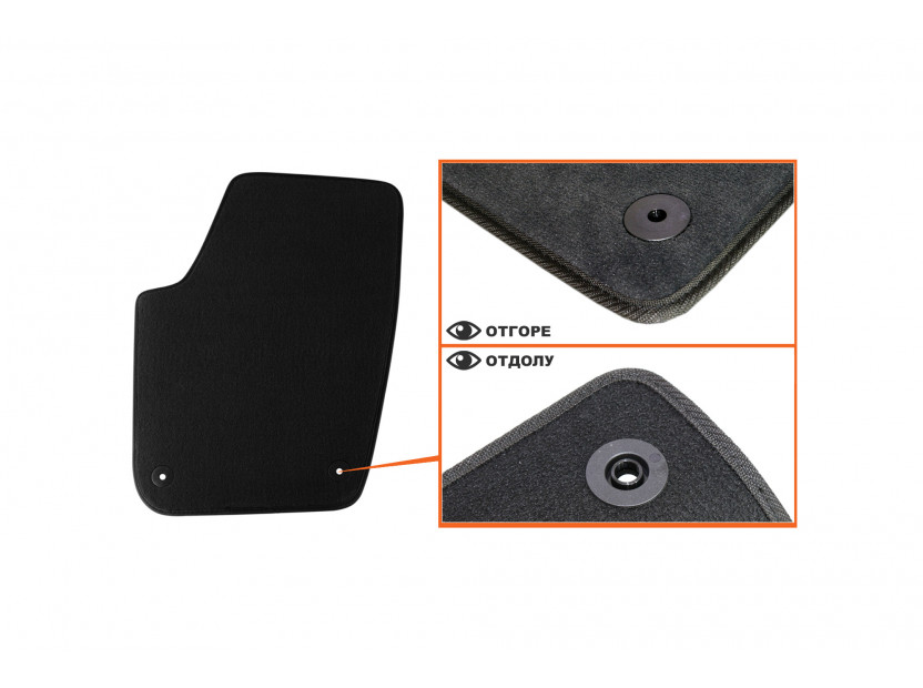 Мокетени стелки Petex за Seat Ibiza 04/2002 =>/Cordoba 1/2003-05/2008 4 части черни (B014) Style материя 2