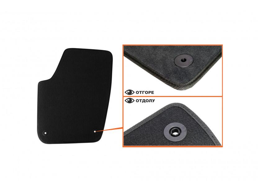Мокетни стелки Petex съвместими със Seat Ibiza, Cordoba 2002-2008, 4 части, черни, материя Style, захват B014 2