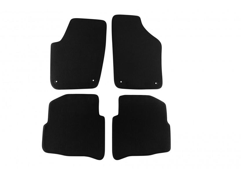 Мокетни стелки Petex съвместими със Seat Ibiza, Cordoba 2002-2008, 4 части, черни, материя Style, захват B014