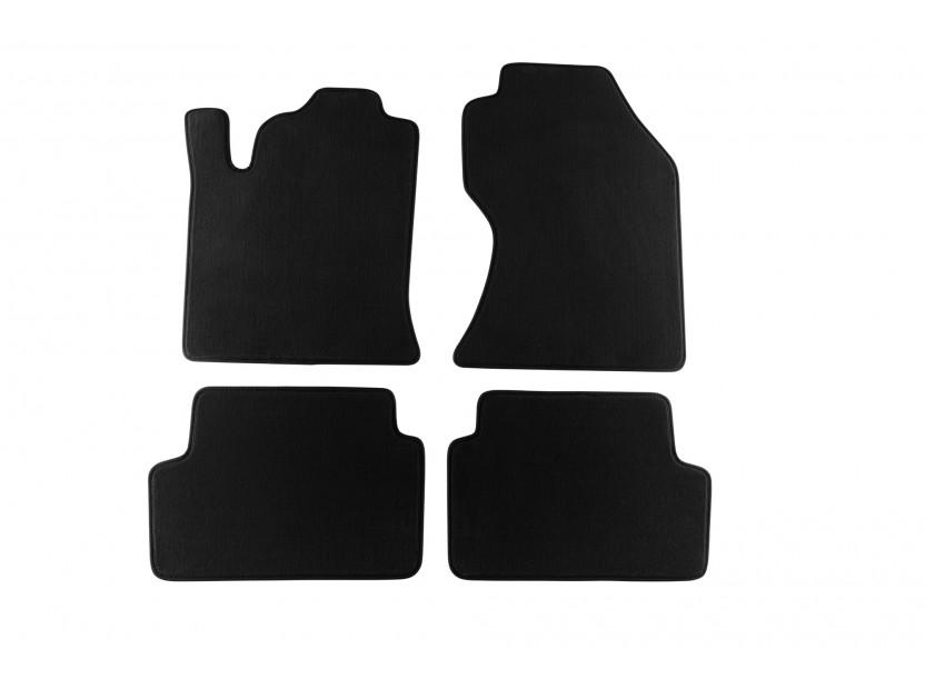 Мокетни стелки Petex съвместими с Ford Focus 2001-2004, 4 части, черни, материя Style, захват KL01