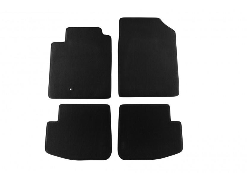 Мокетни стелки Petex съвместими с Toyota Yaris 1999-2005, 3 врати, 4 части, черни, материя Style, захват B161