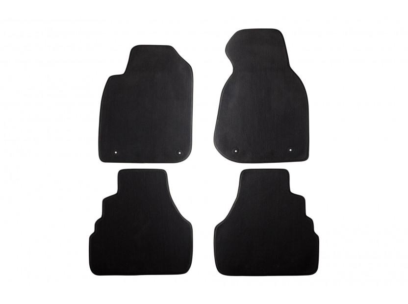 Мокетни стелки Petex съвместими с Audi A6 1998 година, 4 части, черни, материя Style, захват B014