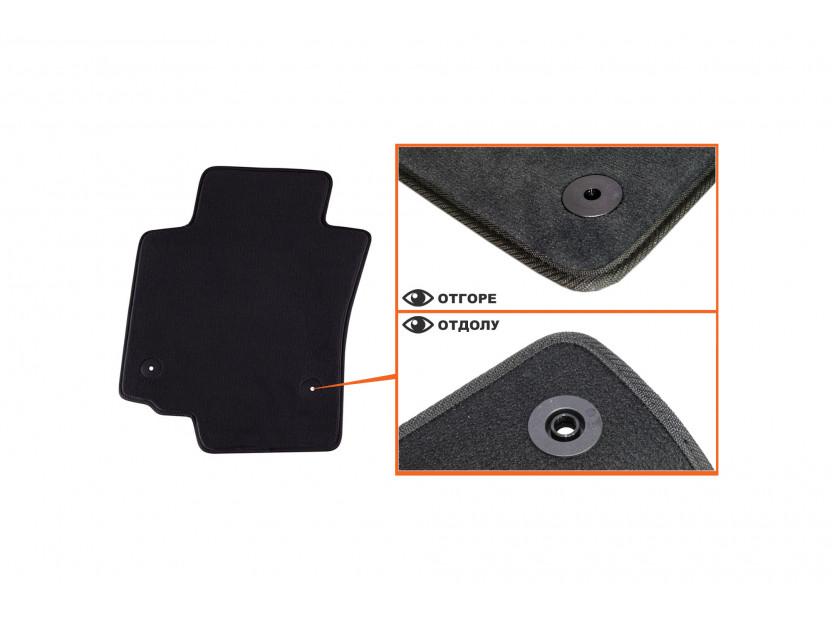 Мокетени стелки Petex за Seat Leon с кръгли щипки 09/2008-10/2012 4 части черни (B014) Style материя 2