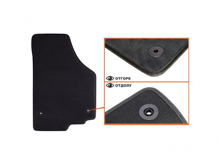 Мокетени стелки Petex за Seat Leon с кръгли щипки 09/2008-10/2012 4 части черни (B014) Style материя 3