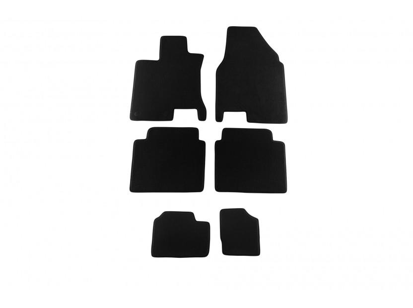 Мокетни стелки Petex съвместими с Nissan Qashqai +2 2008-2014, 7 места, 6 части, черни, материя Style, захват B142