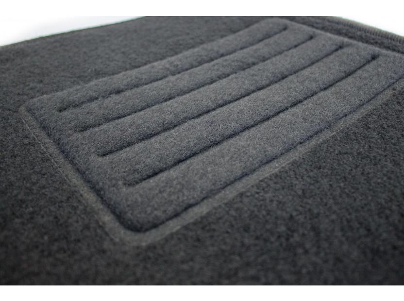 Мокетни стелки Petex съвместими с Renault Megane III, Megane купе 2008-2015, 4 части, черни, материя Rex, захват B142 2
