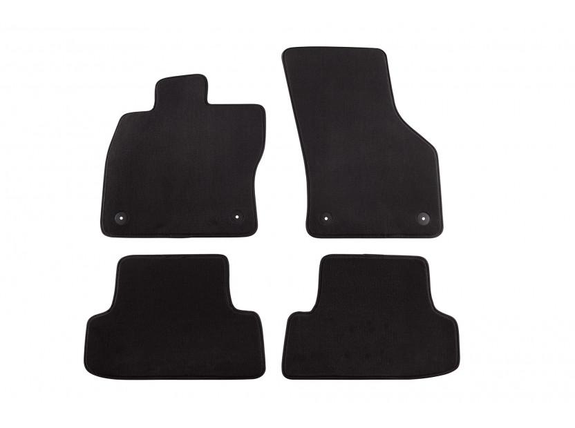Мокетни стелки Petex съвместими с Audi A3 2012-2020, 3 врати, 4 части, черни, материя Style, захват B014