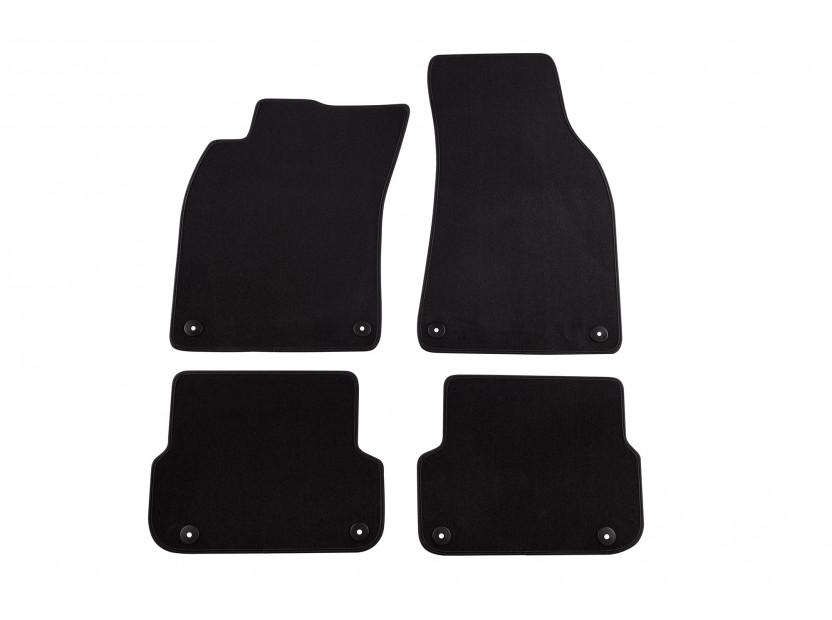 Мокетни стелки Petex съвместими с Audi A6 седан, комби 2006-2011, 4 части, черни, материя Style, захват B01E8