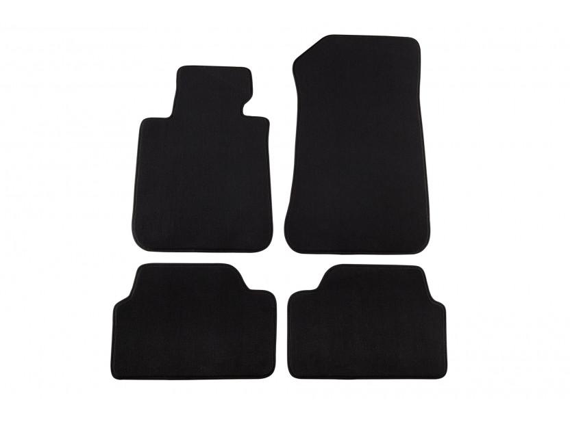 Мокетни стелки Petex съвместими с BMW серия 1 E87 2004-2011, 4 части, черни, материя Style, захват B172