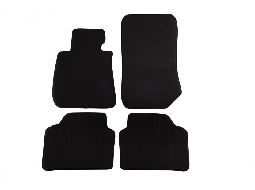 Мокетни стелки Petex съвместими с BMW серия 3 E90 седан, E91 комби 2005-2012, 4 части, черни, материя Style, захват B172