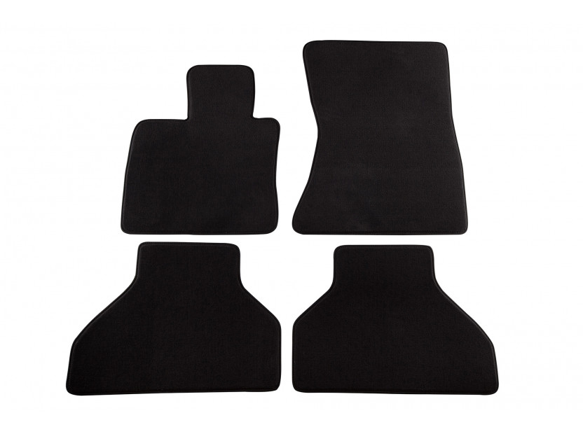 Мокетни стелки Petex съвместими с BMW X5 E70 2007-2013, 4 части, черни, материя Style, захват B182