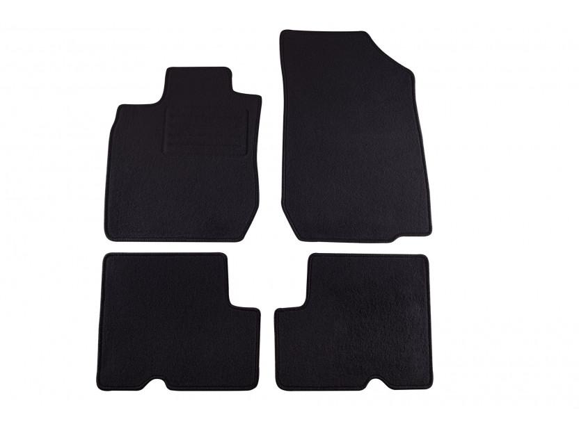 Мокетни стелки Petex съвместими с Dacia Logan, Logan MCV 2007-2013, 5 места, 4 части, черни, материя Rex, захват KL01