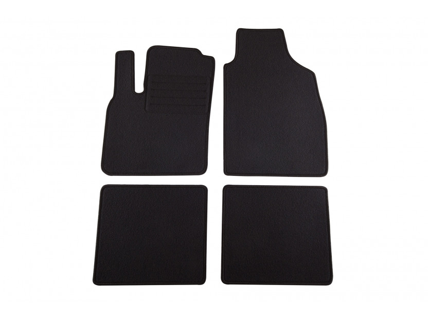 Мокетни стелки Petex съвместими с Fiat Panda 2003-2012, Panda Classic след 2012 година, 4 части, черни, материя Rex, захват KL02