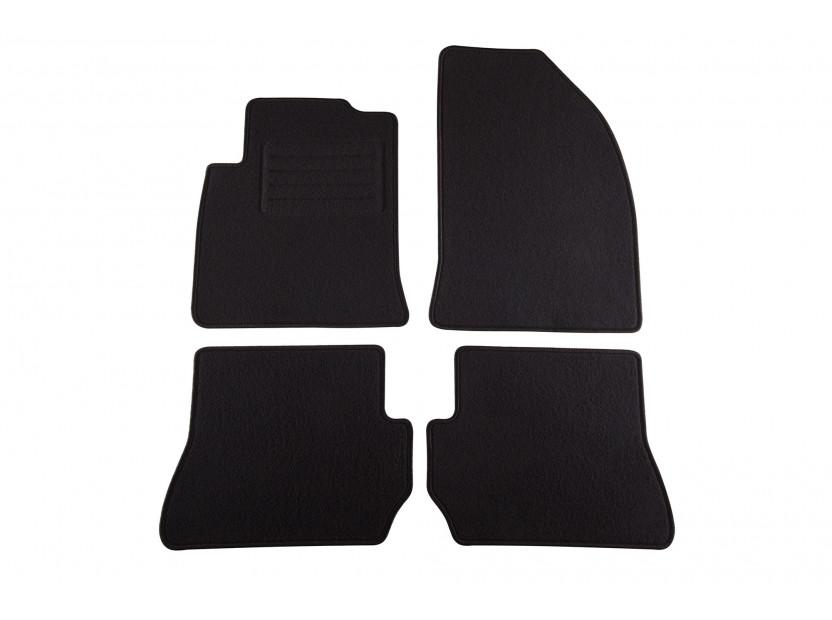 Мокетни стелки Petex съвместими с Ford Fiesta 2005-2008, Fusion 2005-2012, 4 части, черни, материя Style, захват KL01