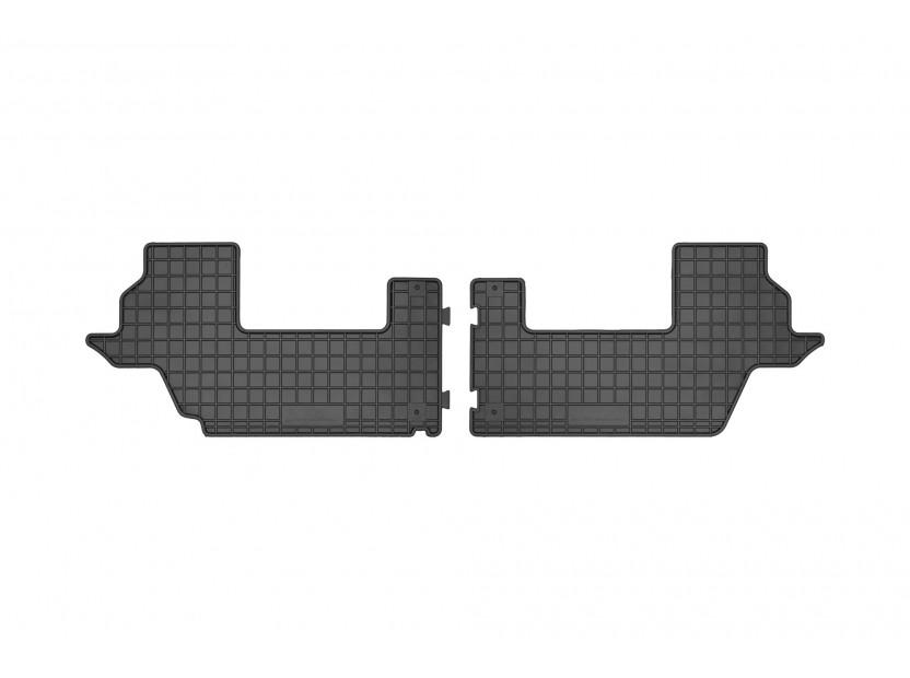 Гумени стелки Frogum за Kia Carens след 2013 година за 3-ти ред седалки, 2 части черни