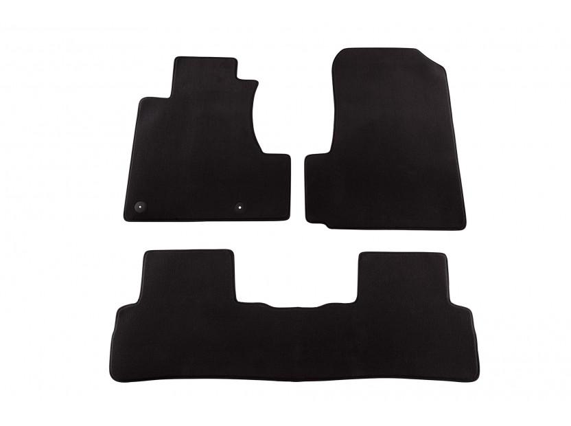 Мокетни стелки Petex съвместими с Honda CR-v 2006-2012, 3 части, черни, материя Style, захват B012U