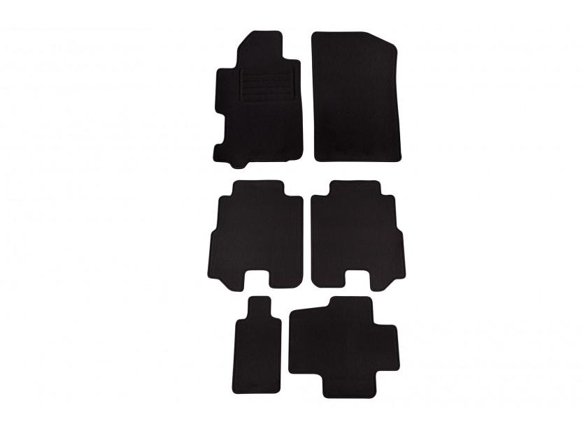 Мокетни стелки Petex за Honda FR-v 2004-2009, 6 части, черни, материя Rex, захват KL08