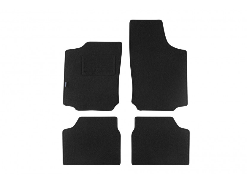 Мокетни стелки Petex съвместими с Opel Corsa C 2000-2004, 4 части, черни, материя Rex, захват KL01