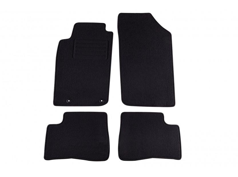 Мокетни стелки Petex съвместими с Peugeot 206+ 2009-2013, 4 части, черни, материя Rex, захват B042