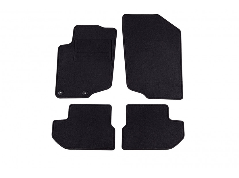 Мокетни стелки Petex съвместими с Peugeot 207 CC 2007-2014, 4 части, черни, материя Rex, захват B042