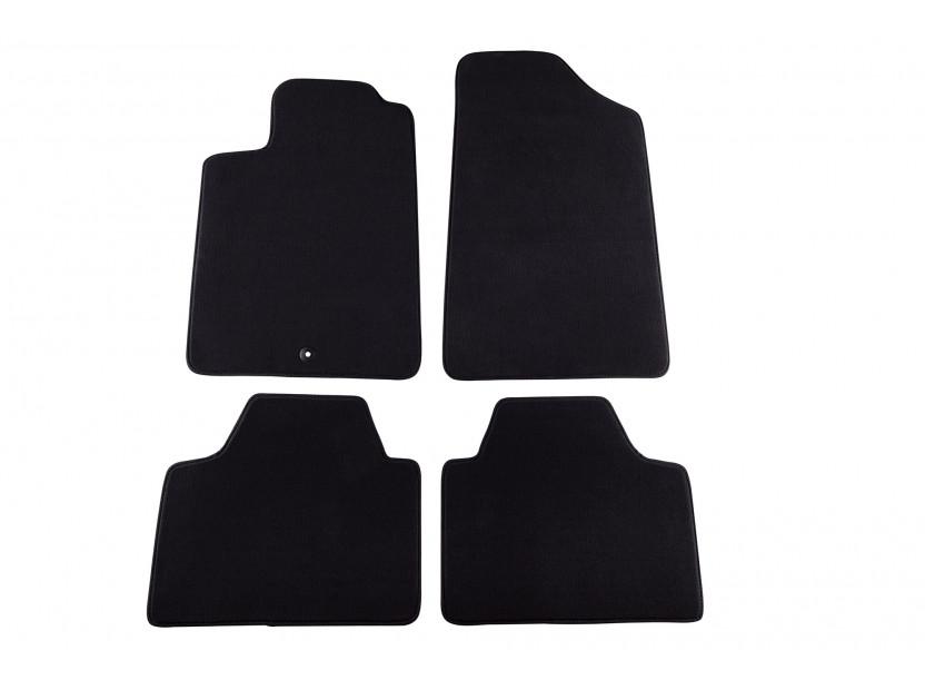 Мокетни стелки Petex съвместими с Peugeot 607 2001-2011, 4 части, черни, материя Style, захват B001
