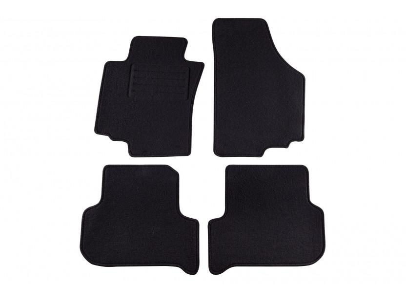Мокетни стелки Petex за Seat Leon 2005-2008, 4 части, черни, материя Rex, захват KL01