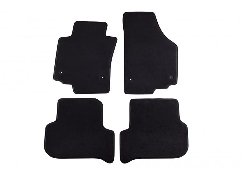 Мокетени стелки Petex за Seat Leon с кръгли щипки 09/2008-10/2012 4 части черни (B014) Style материя