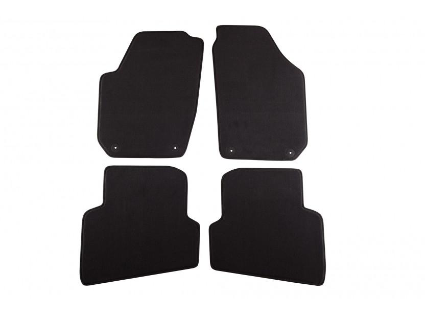 Мокетни стелки Petex съвместими с Skoda Fabia 2007-2014, 4 части, черни, материя Style, захват B01A4