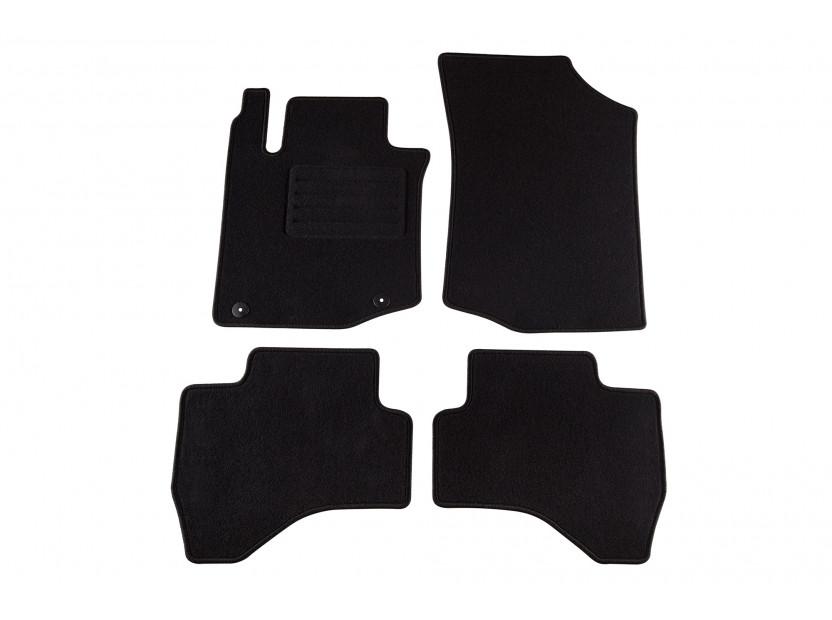Мокетни стелки Petex съвместими с Toyota Aygo 2005-2014, 4 части, черни, материя Rex, захват B042