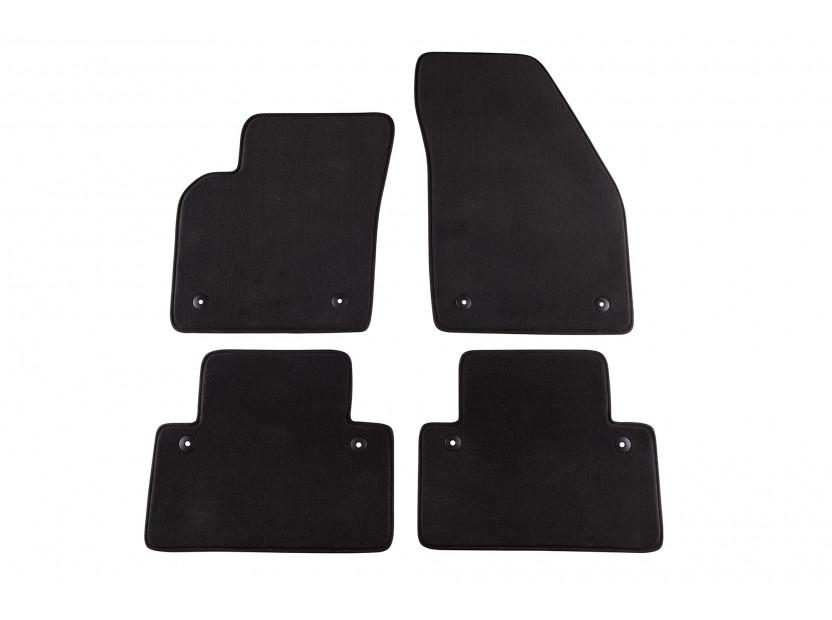 Мокетни стелки Petex съвместими с Volvo S40, V50 2004-2012, C30 2006-2013, 4 части, черни, материя Style, захват B058