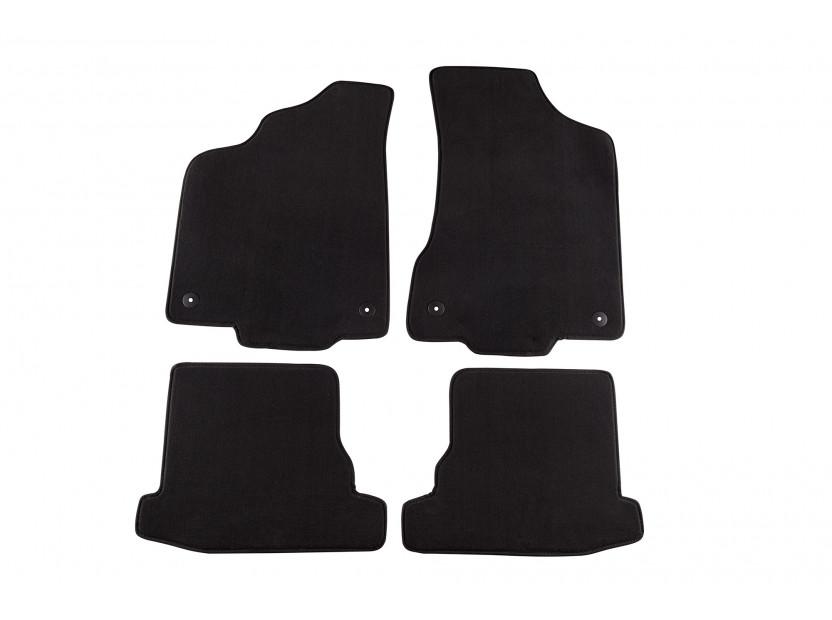 Мокетни стелки Petex съвместими с VW Polo 2000-2001, 4 части, черни, материя Style, захват B014